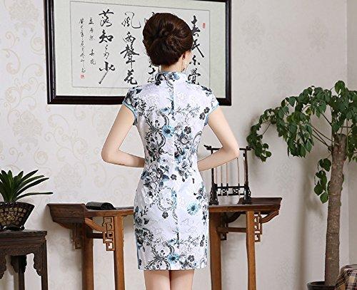 Luck Qipao Chinois Jupe Courte Mode Vintage Motif Fleur en Coton Blanc+Fleur