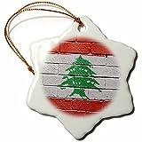 Pansy 7,6cm in porcellana a forma di fiocco di neve decorativo da appendere, bandiera del Libano dipinta su un muro Libanese