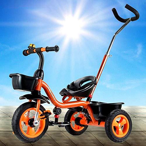 Kinderwagen 2 In 1 Kinder-Dreirad 1,5 bis 6 Jahre 2-Punkt-Sicherheitsgurt Kinderpedal Dreirad Blockierbare Hinterräder Rutschfeste Pedale Kinderhand Schieben Dreirad Maximales Gewicht 25 Kg Dreirad