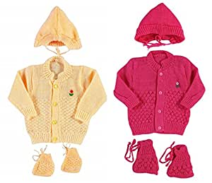 Montu Bunty Wear Kid's Woollen Knitted Baby Set(OG3-CreamStrawberry,0-3 Months) - Pack of 2