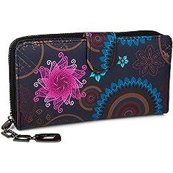 styleBREAKER portefeuille à motifs de fleurs ethniques differents, dessin vintage, fermeture à glissière toute autour, femmes 02040040, couleur:Bleu foncé-bleu-rose