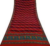 Vintage Indian Crepe Seide Rot Saree Leaf Printed Ethnische