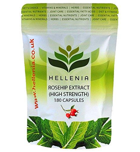 Hagebuttenextrakt (Rosehip extract) 250mg - 180 Kapseln - Reiche natürliche Quelle für Vitamin C, Vitamin A, Kalzium und Eisen