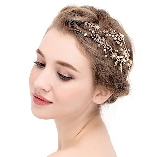 SWEETV Stunning Handgefertig Hochzeit Haarnadeln Hell Gold Braut Tiara Kopfschmuck