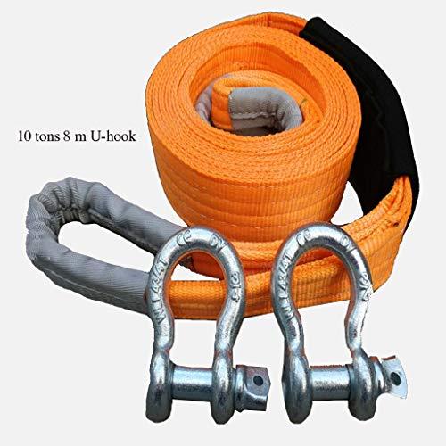 8 Meter Abschleppseil mit 2 Haken - 10 Tonnen Abschleppvermögen - ideal zum Ziehen von LKWs oder SUV-Fahrzeugen
