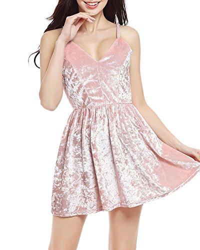 Femmes Sans Manches V Profond Harnais Robe Cocktail Style Halter Velours Soirée Décolleté Nightclub Swing Robe pink