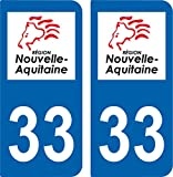 SAFIRMES 2 Autocollants Plaque immatriculation Auto 33 Nouvelle Aquitaine - Logotype
