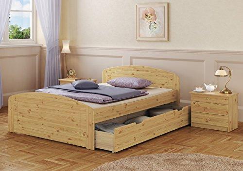 Erst-Holz® Funktionsbett Doppelbett 3 Bettkasten Rollrost 160×200 Seniorenbett Massivholz Kiefer 60.50-16