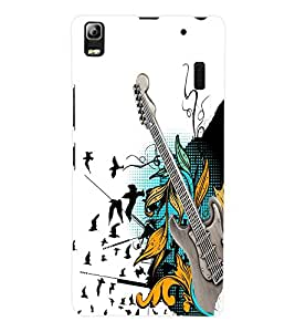Fuson 3D Printed Guitar Designer Back Case Cover for Lenovo K3 Note - D849