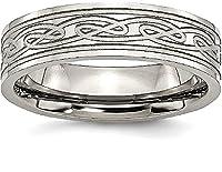 IceCarats Titanium Flat Laser Etched Irish Claddagh Celtic Knot 6mm Wedding Ring Band