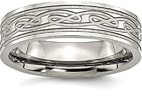 IceCarats Titanium Flat Laser Etched Irish Claddagh Celtic Knot 6mm Wedding Ring Band Size 11.00