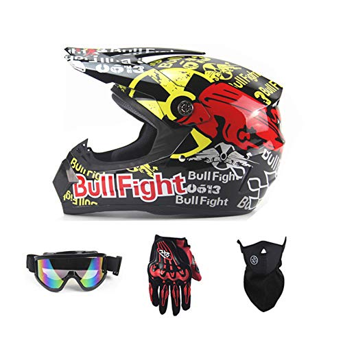 Motorradhelm, Outdoor-Jugend-Kinder-Dirt-Fahrradhelme, Full Face Motocross-Offroad-Helm Four Seasons Universal (Handschuhe, Brille, Maske, 4-teiliges Set),RedBull,M