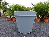 E&K Übertopf 80 cm Pflanztopf Blumentopf Pflanzkübel 'Ecken und Kanten' Kübel weiß oder grau (Grau)
