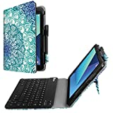 Fintie Tastatur Hülle für Samsung Galaxy Tab S3 T820 / T825 (9,68 Zoll) Tablet-PC - Slim Fit Kunstleder Stand Schutzhülle Case mit Magnetisch Abnehmbar Drahtloser Bluetooth Tastatur, Emerald