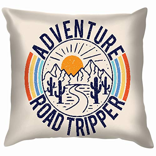 Nicegift Vintage Adventure Road Tripper Mountain Cactus Beauty Fashion Throw Pillow Case Cushion Cover Pillowcase Watercolor for Couch 18X18 Inch -