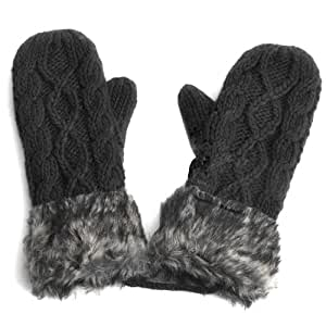 WMA Black Warm Ladies Rag Wool Winter Snow Mittens Knitted Fleece Lined Fur Gloves