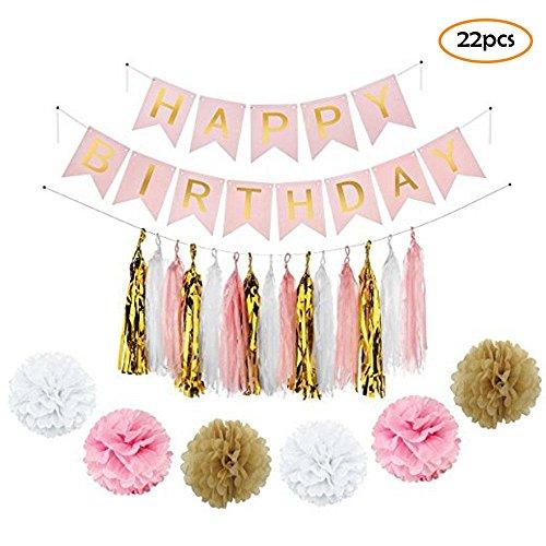Pawaca 22 Stück Party Dekoration, Tissue Seidenpapier Pom Poms, Geburtstag Papier Hängendes Banner, Girlande, für Hochzeit Geburtstag Party Dekorationen (Baum-form-kaffee-tische)