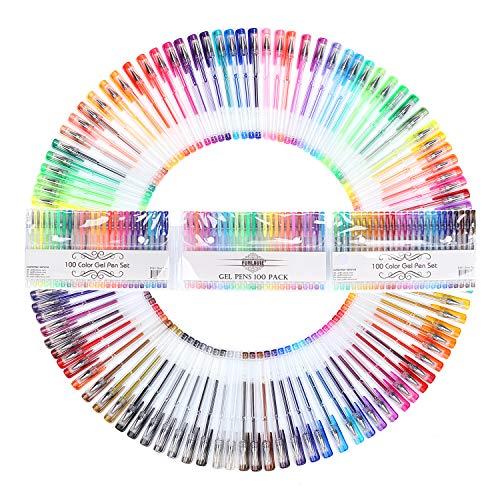FUNLAVIE Gelschreiber Set Gelstifte Gel Pen Kugelschreiber 100 Farbe Paket