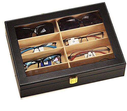 Viewlite 8Slot Leder Sonnenbrille Display Case Brille Organizer Storage Box schwarz