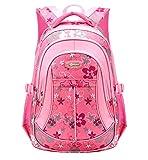 Happy Cherry Schulrucksack Blumen Schulranzen Schultasche Sports Rucksack Freizeitrucksack Daypacks Backpack für Mädchen Jungen Kinder Damen Herren Jugendliche-Pink