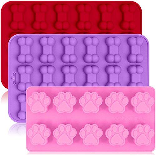 Lot de 3 plateaux à moules en silicone avec chiot pattes et os Forme réutilisable Bakeware Maker pour la cuisson Chocolat Candy, four micro-ondes congélateur lave-vaisselle - Rose, Rouge, Violet