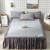 Ice Silk Soft Mat Dreiteilige, kann gewaschen und gefaltet Werden, weich und glatt, leicht und atmungsaktiv, schnelle Schweiß Sommer Schlafmatte (Farbe : Grau, größe : 180cm×200cm)