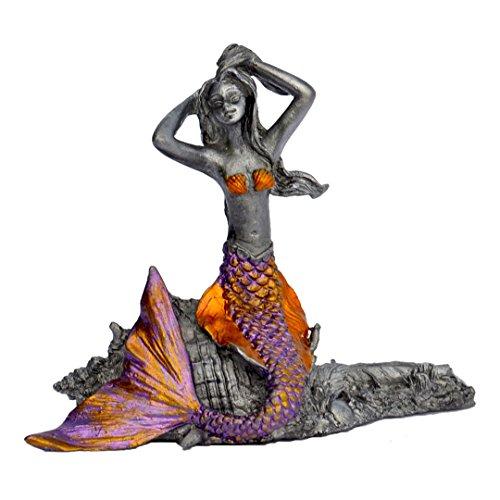 Pixie Glare Zinn Meerjungfrau Figur Statue Sammlerstück Fantasy-Meerjungfrau auf Einer Muschel. Verschiedene Farben erhältlich Purple Tail -