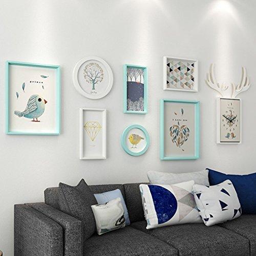 &Dekorative Wände Moderne Massivholz Bilderrahmen Wand Sets Von 6, hängen Bilderrahmen Wand Wohnzimmer Schlafzimmer Kombination Bilderrahmen Wand Sofa Hintergrund Bilderrahmen Wand Modischer Entwurf ( Farbe : C , größe : 7frames/159*54CM )