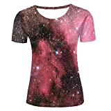 SHUAIFA Womens 3D Printed Casual Summer T-Shirts Starry Milky Way Red Novelty Couple Novelty Short Sleeve Polyester T-Shirts Tees L