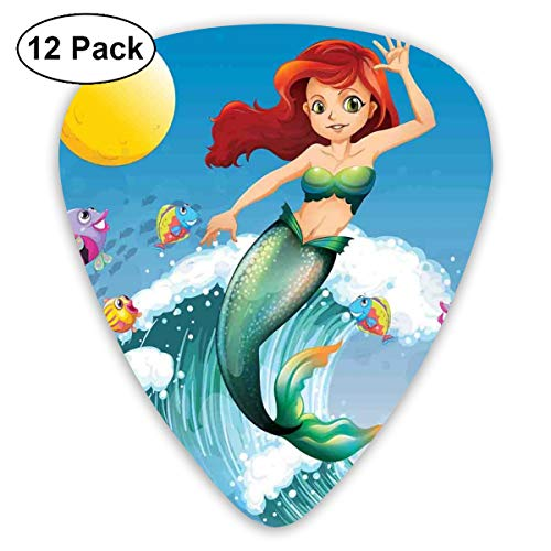 Celluloid Guitar Picks - 12 Pack,Abstract Art Colorful Designs,Illustration Of Cute Little Mermaid On Top Of A Big Wave In The Surf With Fish Kids Decor,For Bass Electric & Acoustic Guitars.