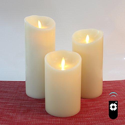 HueLiv LED Kerzen mit echtem Flammeneffekt, Satz von 3 Klassische Paraffin-Wachs-Pfosten-Kerzen, Vanilla Duft, Batteriebetrieben mit Timer, 500 Stunden Autonomie, Fernbedienung, Elfenbein Weiß