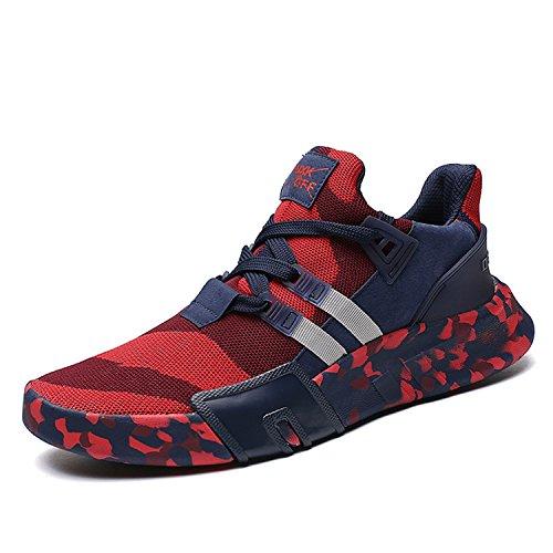 SITAILE Herren Sportschuhe Atmungsaktiv Gym Turnschuhe Leichtgewicht Laufschuhe Lace up Freizeitschuhe Trainer Outdoor Sneaker Shoes,B-Blau Rot,eu43