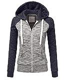 FeiBeauty Damen Jacke Sweatjacke Hoodie Sweatshirt Pullover Oberteile Kapuzenpullover V Ausschnitt Patchwork Pulli mit Kordel und Zip