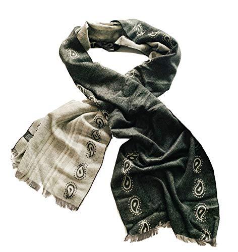Bufandas hombre antrazita - Bufanda fina hombre con diseno paisley - Bufanda muy elegante y caliente...