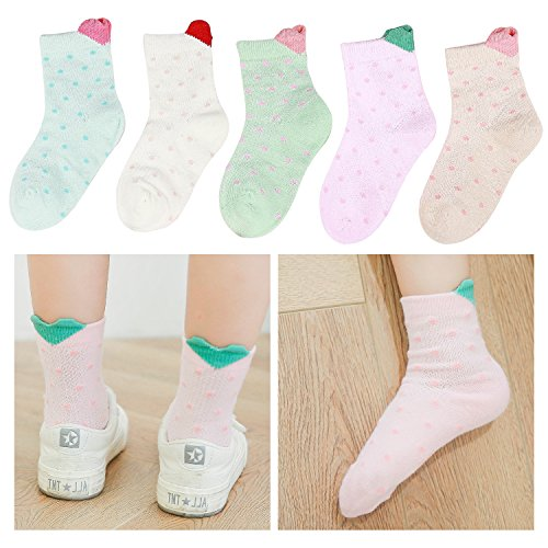 Lamdgbway 5 Pairs Fashion Girls Socks Cotton Mesh Toddler Kids Ankle Socks
