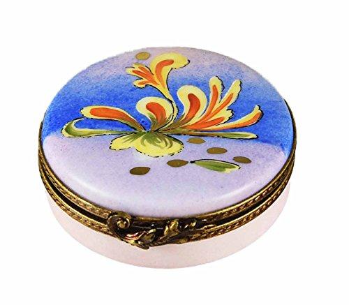 Porcelaine de Limoges Boîte ronde bleue