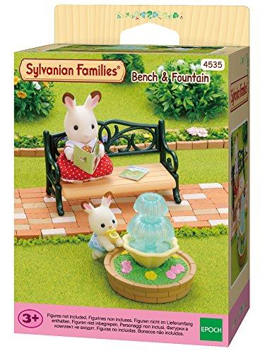 Sylvanian Families 4535 Gartenbank mit Springbrunnen, Mehrfarbig