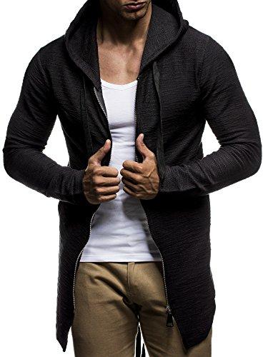 LEIF NELSON Herren Pullover Hoodie Sweatjacke Longsleeve Sweatshirt Jacke Basic Rundhals Langarm Oversize Shirt Hoody Sweater LN6298; Größe XL; Schwarz