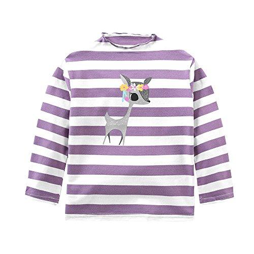 (Babykleidung,Honestyi Kleinkind Kinder Baby Mädchen Streifen Deer Printing Langarm Tops T Shirt Blusen (120,Violett))