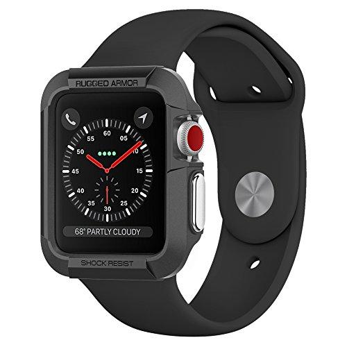 Coque Apple Watch 42mm, Spigen [Rugged Armor] Resistant, Anti-chute, Anti-Choc [Noir] Protection Ultime, Coque Etui pour Apple Watch 42mm Serie 3/2/1 (SGP11496)