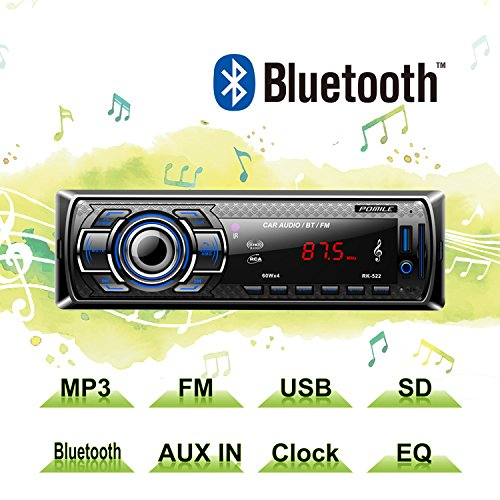 Auto Radio MP3 von POMILE, Single Din Autoradio (Bluetooth, USB, SD, AUX Anschluss) Auto MP3 Player Apple iPod / iPhone Control, Freisprechfunktion und integriertes Mikrofon