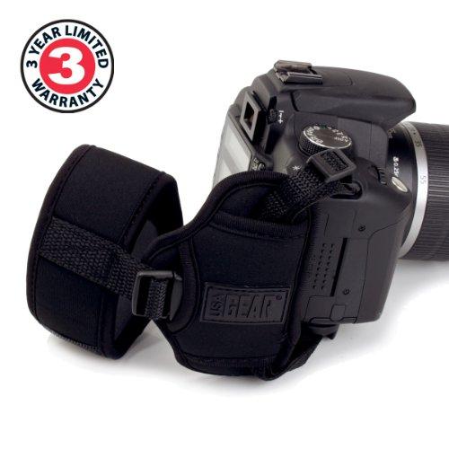 dslr handschlaufe Kameragriff zur Stabilisierung und Sicherung Ihrer Spiegelreflexkamera von USA Gear: Gepolsterte Handschlaufe, Schwarz, aus Neopren für SLR/DSLR von Canon, Nikon und anderen Herstellern