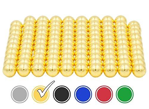 ODEEN Mini Magnete 108*Stück - NEODYM - ULTRASTARK- 5 mm – Extra Starke Kleine Mini-Magnete für Whiteboard, Kühlschrank, Magnettafel, Magnetstreifen, Pinnwand und für die Werkstatt (Gold 5 x 5 x 5 mm)