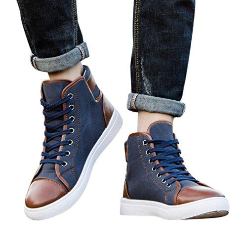 Flip Flops Herren,sonnena Männer Frauen kausale Schuhe lace-up Stiefeletten Schuhe Casual High Top Canvas Schuhe Solid/Flock/lace-up/Casual (47, Gut Blau ) (Mann-schuh-charme)
