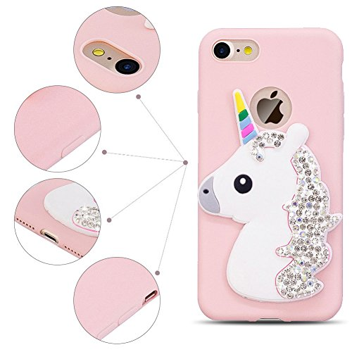 Cover iPhone 7 Spiritsun iPhone 8 Custodia TPU Moda Elegante Case Bello Kawaii Cover Soft Silicone Back Cover Protezione Bumper Funzione Shell Morbida Flessible TPU Bling Bling Cover Per iPhone 7 / 8  Rosa Unicorno