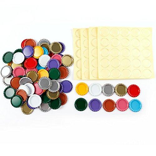 Preisvergleich Produktbild Anladia 100 St. 25mm EPOXY-Sticker Aufkleber selbstklebend & 100 St. Bunt Kronkorken Flasche Kappe Bottle Cap