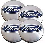 Aufkleber für Felgendeckel aus Legierung, 54 mm Außendurchmesser, für Fiesta Focus KA Transit ST RS, Blau und Silber, 4 Stück
