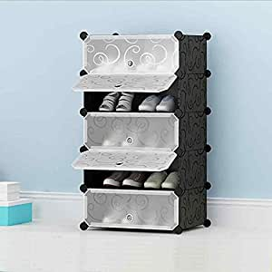 ... House Of Quirk DIY Shoe Rack Plastic Shoe Storage Organizer Cabinet  With Doors Black