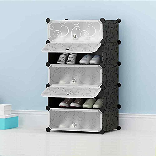 House of Quirk DIY Shoe Rack Plastic Shoe Storage Organizer Cabinet with Doors Black