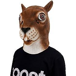 Máscara de Látex de Animal, Disfraz de Ardilla para Halloween, Mascarilla de Cabeza de Esciúrido para Adulto Carnaval Fiesta Máscara Unisex de Cusfull